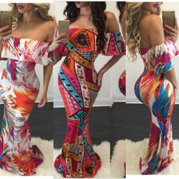 Wholesale Cheap Bodycon Maxi Dresses - Cheap Summer Maxi Floral Printed Dresses Women Long Dresses 2017 Off the Shoulder Beach Dresses Sheath Bodycon Floor-Length Holiday