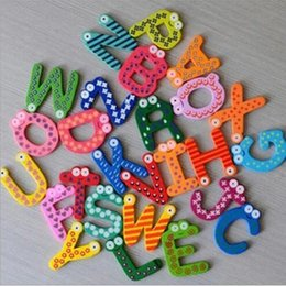 Wholesale Educational Stickers - Unisex Kids Educational Toy Wood Letters Alphabet Learning Fridge Magnet 26 pcs