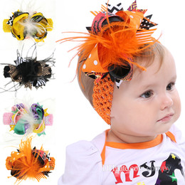 Wholesale feather barrette hair clip - Kids Halloween Bow Hairbands Headbands Hair Clips Baby Girls Hand made Feather Grace Bow hair accessories wide bands Barrettes KHA400