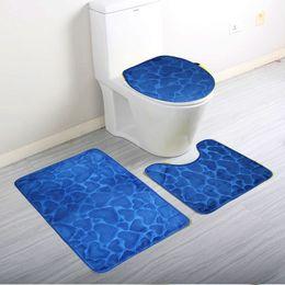 Wholesale Padded Bath Mat Pad - Wholesale-3Pcs Set Home Bathroom Door Floor Mat Pad Set Soft Coral Fleece Bath Mat Pedestal Mat Toilet Washable Floor Rugs Carpets
