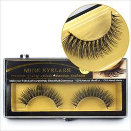 Wholesale Real Mink Fur Lashes - 1 Pair Real Mink Hair Fur Eyelashes Handmade Natural Long Thick Soft Crossing Eye Lashes High Quality