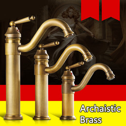 Wholesale Brass Hotel - Archaistic Bathroom Hotel Basin Brass Water Tap Deck Mounted Teapot Faucet Low lead 360 Degree Rotation Cold Hot mix water with 60cm Hose