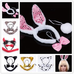 Wholesale Cat Ear Tail - 7styles Animal cosplay props 3pc sets 3D Ears Headband+Neckbow+Tail cat leopord rabbit devil Masquerade costumes performance props Holloween