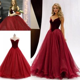 Wholesale Sweetheart Neck Tulle Ball Gown - Real Image in stock 2017 Burgundy Velvet Prom Dresses Formal Evening Party Pageant Gowns Ball Gown Sweet-heart Long Occasion Dresses Cheap