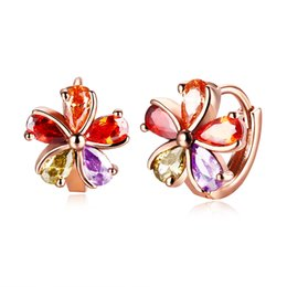 Wholesale Silver Japanese Charm - Female Earrings Temperament Wild Japanese Earrings 18K Rose Gold Flower-shaped Five-color Earrings Anti-allergy High Quality Jewelry