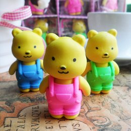Wholesale Novelty Animal Erasers - Wholesale-1 Piece Hot Sale New Lovely Cute Cartoon Eraser Rubber Korean Stationery Creative Strap Bear Novelty Kid Gifts Animal Pencil
