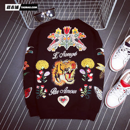 Wholesale tiger 3d sweatshirt men - Wholesale- Luxury Brand Men's Hoodies 3d With Stereo Flower And Tiger Embroidery Pattern Men's Sweatshirts Fashion Cotton Pullover