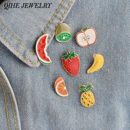 Wholesale Apple Brooch Pin - Wholesale- QIHE JEWELRY 7PCS Set Watermelon Kiwi Strawberry Orange Banana Apple Pineapple Fruit Brooch Pin Badge Vintage Fruit Jewelry