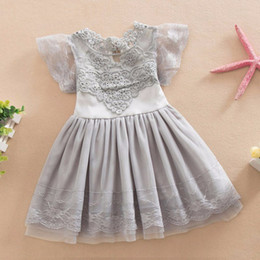 Wholesale Wedding Puff Sleeves Dress - 2017 Baby Girl Lace Tutu Dress Summer Hollw Out Sundress Kids Formal Birthday Wedding Party Clothes