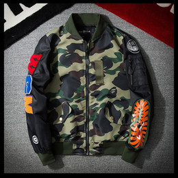 Wholesale Mens Flight Jackets - Mens Bomber Jacket Plus Size 3XL Back Embroidery Camouflage Flight Jacket Patch Men Hip Pop Bomber Jacket