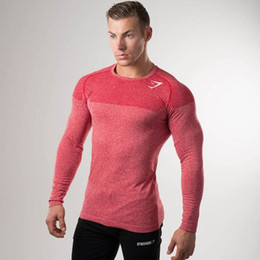 Wholesale New Arrival Clothes Men - 2017 New Arrival Shark Girdle T-Shirt Long Sleeve Men's Gymshark Bodybuilding and Fitness Men's Tank Shirt Gyms Clothing 5 Color Free Ship