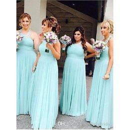 Wholesale Maxi Gown Halter Neck - Plus Size Bridesmaid Dresses 2017 Sky Blue Halter Neck Beaded Ruched Wedding Party Gowns Chiffon Long Maxi Bridesmaids Dress For Fat