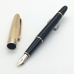 Wholesale Gold Nib Fountain Pen - Luxury mb pen ag925 Black with gold fountain pen 4810 Middle size 14K golden nib classique Meister fountain pen supply