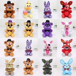 Wholesale Golden Bear Set - 16pcs set 25cm Five Nights At Freddy's toy FNAF Nightmare Fredbear Golden Freddy plush Fazbear Bear foxy Bonnie Plush Toys soft stuffed doll