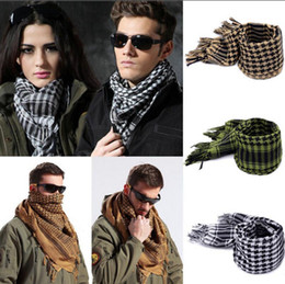 Wholesale man steal - Arab Shemagh Keffiyeh Palestine Scarf 110*110cm Men Shawl Wrap Stole Scarves Cotton Military Scarf 7 Colors OOA2790