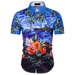Wholesale Hawaiian Style - New Arrival Mens Hawaii Shirts Imported Clothing Shirt Men Hawaiian Style Palm Floral Imprint DC47