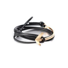 Wholesale Mens Leather Anchor Bracelets - Mens Punk Alloy Leather Anchor Bracelet Vintage Pirate Style Charm Gold Cuff Bangle Anchor Bracelet Hand Cuff bea050
