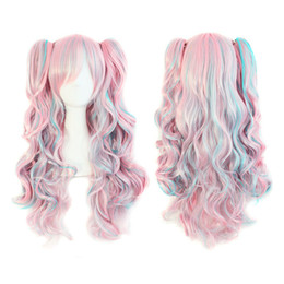 Wholesale Pink Ponytail Wig Long - Free Shipping>>70cm Long and Synthetic Pink   Blue Curly Clip-In Ponytails Lolita Cosplay Wig