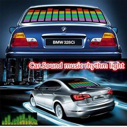 Wholesale Car Decals Sticker Sheet - EL Car Stickers 45*11cm 90*10cm Music Stickers Sound Music Activated EL Sheet Car Sticker Music Rhythm Light Car Decals Withe Cable