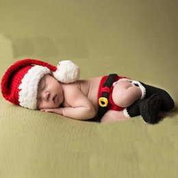 Wholesale Crochet Hats For Newborn Babies - Newborn Baby Christmas Santa Knitted Crochet Photo Photography Prop Lovely Hats Costume Outfits For 0-6 Months 2017 BP024