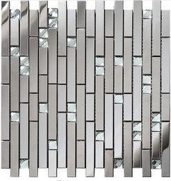 Wholesale Interior Glass - Linear Glass Diamond Stainless Steel 3D Mosaic Wall Tile,Modern Metal Pattern Kitchen Backsplash Tiles,SA047-18.