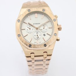 Wholesale Butterfly Backing - AAA hot sale rose gold luxury watch men automatic Mechanics men's watches Skeleton white face glass back Stainless fashion mens watches