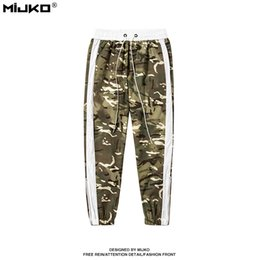 Wholesale Camouflage Trousers - MIJKO 2017 Autumn Winter Men Pants Desert Zipper Side Stripe Pedal Camouflage Pants Sportwear Pants Male Casual Silm Trousers