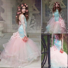 Wholesale Tires Tulle Dresses - Gorgeous Blue And Pink Mermaid Flower Girls Dresses 2018 Lace Long Sleeves Tired Tulle Pageant Gowns for Little Girl Children Party Dresses