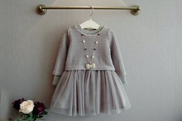 Wholesale Knitted Dresses Wholesale - Kids Girls Knit Sweater Dresses Baby girl tulle lace TUTU Autumn Winter Princess Dress Gray Color