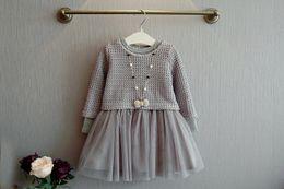 Wholesale Girls Knit Dresses Wholesale - Kids Girls Knit Sweater Dresses Baby girl tulle lace TUTU Autumn Winter Princess Dress Gray Color