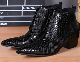 Wholesale Mens Business Boots - Big Size Men Dress Shoes Pointed Toe Snakeskin Design Lace Up Mens Boots Black Wedding Ankle Boots Work Business Oxfords Genuine Leather
