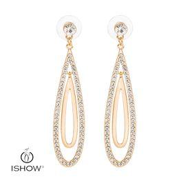 Wholesale Long Gold Crystal Earrings - Gold Long Dangle & Chandelier Shape Crystal inlaid Earrings Jewelry stud Earring Top Quality Wedding earrings HEH00794