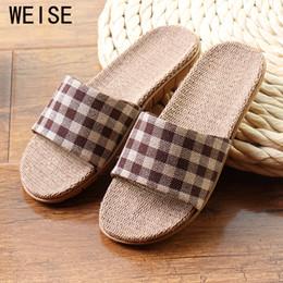 Wholesale Wholesale Quality Flip Flops - Wholesale-High Quality Cool Summer Linen Home Slippers Unisex Women Men Slippers EVA Plaid Print Floor House Shoes Men Plus Size 35-45