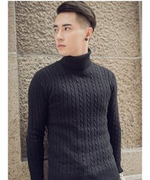 Wholesale Black Brown Cashmere Sweater - Sweater Men Thick Sweaters Undershirts Pull Homme Knitwear Cashmere Turtleneck Pure Color Christmas Pullovers Men's Coat SY122