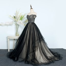 Wholesale Young 14 - Black Ball Gown Prom Dresses Off Shoulder Lace Up Tulle Evening Military Ball Dress for Women and Young Girl Custom Size