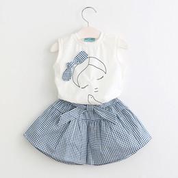Wholesale Children S Clothes Tutus - 2017 children summer clothes sets sleeveless girl vest top+plaid tutu skirts 2pcs outfits kids cotton clothes suits