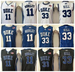 Wholesale Duke Blue - Duke Blue Devils 11 Bobby Hurley Jersey Men Basketball 33 Grant Hill College Jerseys Team Blue Alternte White All Stitched Free Shipping