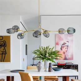 Wholesale New Modern Chandeliers - New Lindsey Adelman Globe Branching Bubble Chandelier Glass Chandelier Suspension Hanging Pendant Light Glass Pendant Lamp 1 5 7 8 Heads