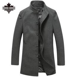 Wholesale Mens Wool Collar Jacket - Wholesale- Men's Wool Jackets Spring Autumn Brand Men Woolen Coats Middle Long Jackets And Coats Mens Warm Wool Overcoat Size 3XL 2XL