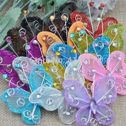 Wholesale Organza Rhinestone Butterflies - Wholesale- 20Pcs Mixed Organza Wire Rhinestone Butterfly Wedding Decorations For Scrapbook A109