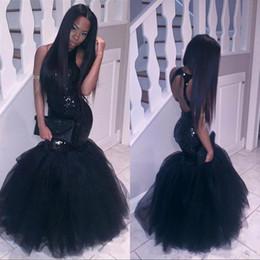 Largo corsé sirena prom online-Sparkly Black Girls Mermaid African Dresses Largos 2017 Lentejuelas con cuello halter Tulle Sexy Corset Vestido formal Fiesta barata Vestidos de fiesta