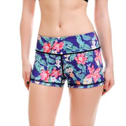 Wholesale Womens Running Shorts Size M - Wholesale- LOVE SPARK 2017 Womens Flower Print Running Shorts S To 4xL Plus Size Floral Print Yoga Gym Dance Sport Blue Shorts Workout