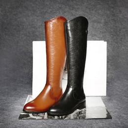 Wholesale Boots Cowhide - Knee High Boots For Women Euro Style Black Brown Embossed Cowhide Pointy Toe Medium Heels Ladies Shoes Frauen Stiefel