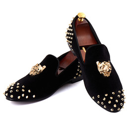 Wholesale Drop Shipping Wedding Dresses - Harpelunde Lion Buckle Men Dress Shoes Black Velvet Loafers Rivets Flat Shoes Free Drop Shipping Size 7-14