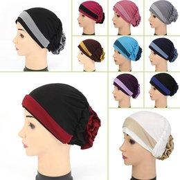Wholesale Yoga Scarfs - Muslim Stretch Turban Hat Cancer Chemo Cap Hair Loss Head Scarf Wrap Cover Women Stretch Flower Muslim headscarf CWY0027