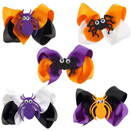Wholesale Halloween Baby Hair Bows - 4 Inch Boutique Halloween Hair Bows With Spider For Toddler Girl Baby Kid Hair Bow For Holyday Gift