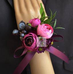 Wholesale Wholesale Wedding Corsage Supplies - Handmade Wedding Corsage Groom Boutonniere Bride Bridesmaid Women Hand Wrist Flower Artificial Flowers Corsages Wedding Supplies