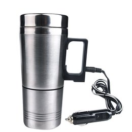 Wholesale Coffee Cigarettes - Water Heater Mug, Vacuum Insulated Car Electric Kettle Heated Stainless Steel Car Cigarette Lighter Heating Cup Coffee Cup with Charger