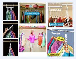 Wholesale Plastic Clothes Hangers Free Shipping - Free Shipping 30packs lot (240pcs lot) Space Saver Wonder Magic Hanger Closet Organizer wonder hanger #70937
