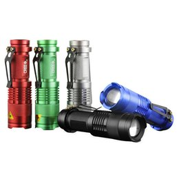 Wholesale Led Fishing Black Lights - Hot sale, MINI ZOOMABLE 7W CREE Q5 LED 300 Lumen 3 mode 1X AA 14500 Flashlight Torch Zoom Lamp Light 68(Silver or Black)